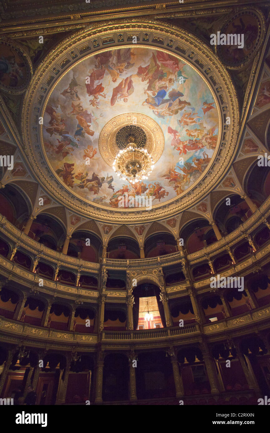 The interior of the Hungarian State Opera house in Budapest - Stock Image