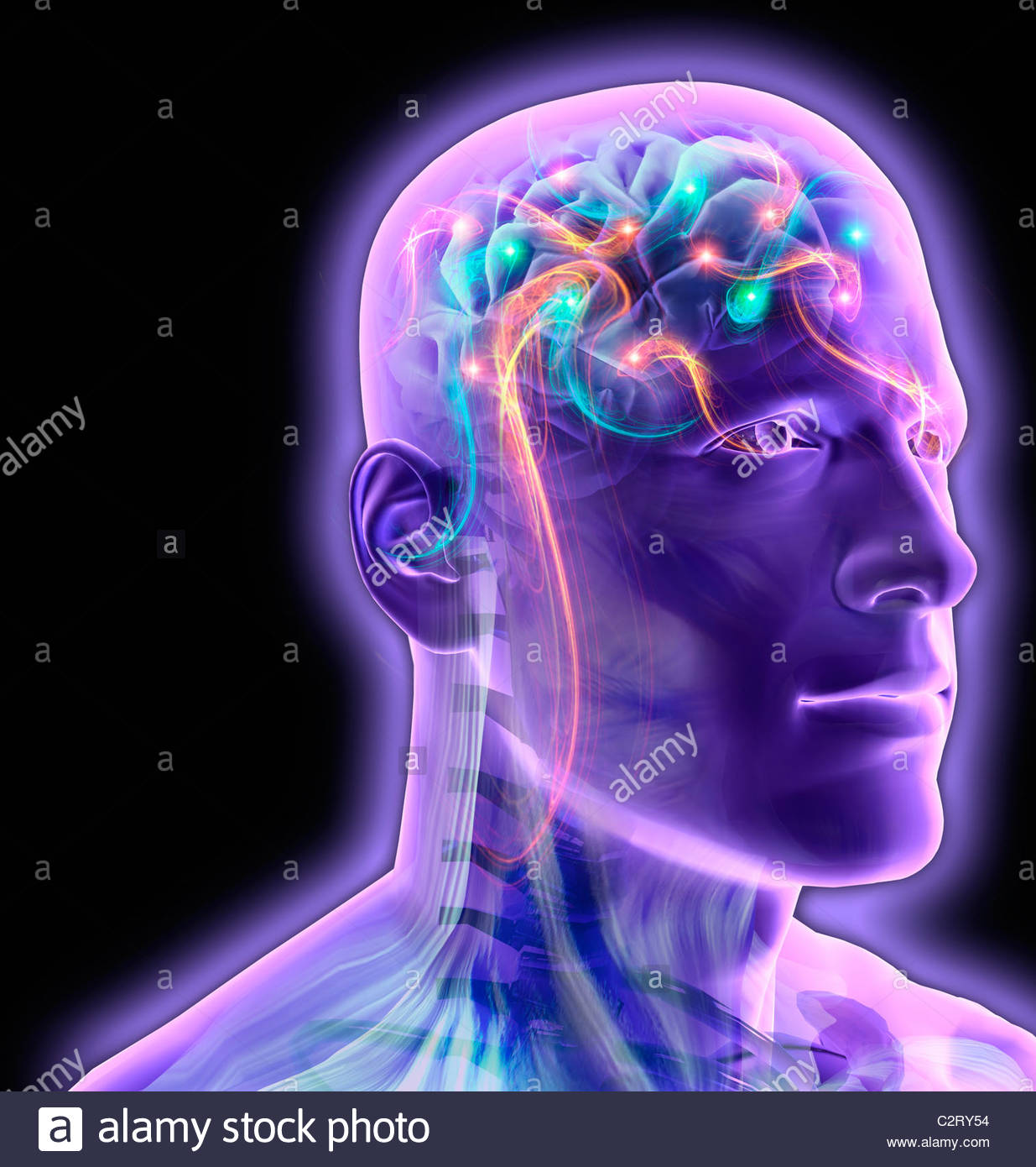 Transparent man's brain glowing and sparkling - Stock Image