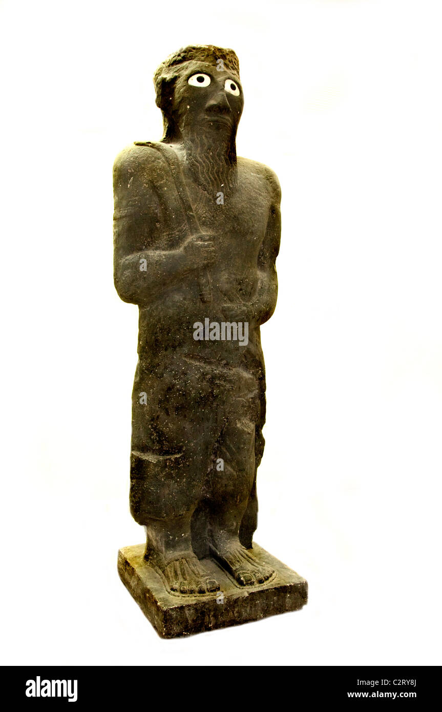 National Museum Aleppo copy Armenean God of the Aramaic palace Tell Halaf 9th cent BC Syria Armenia - Stock Image