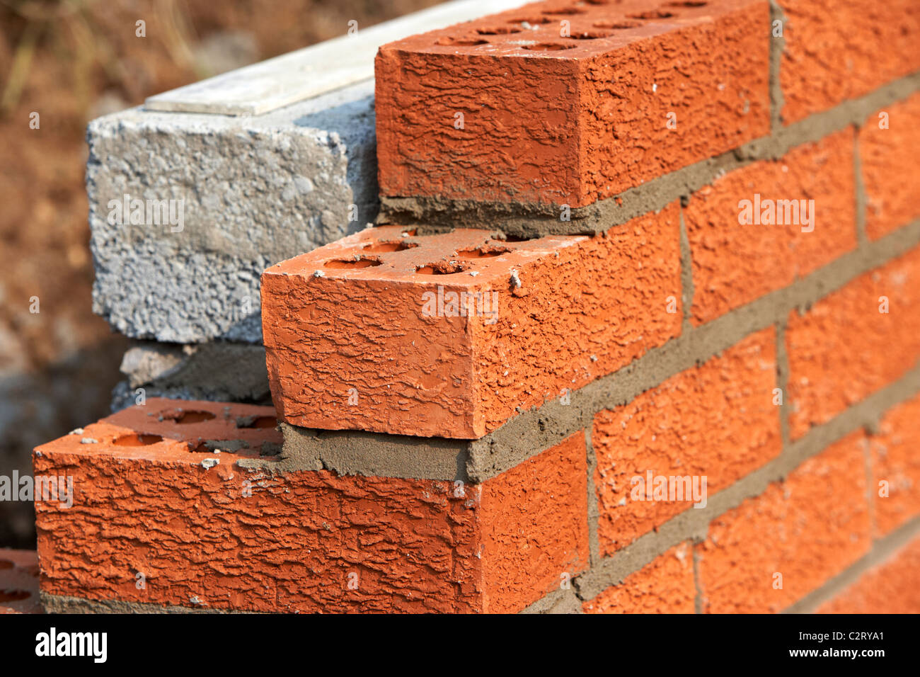 Charming Bricklaying Wall Red House Bricks Facing Half Cement Breeze Blocks Building  A Block Retaining Wall In