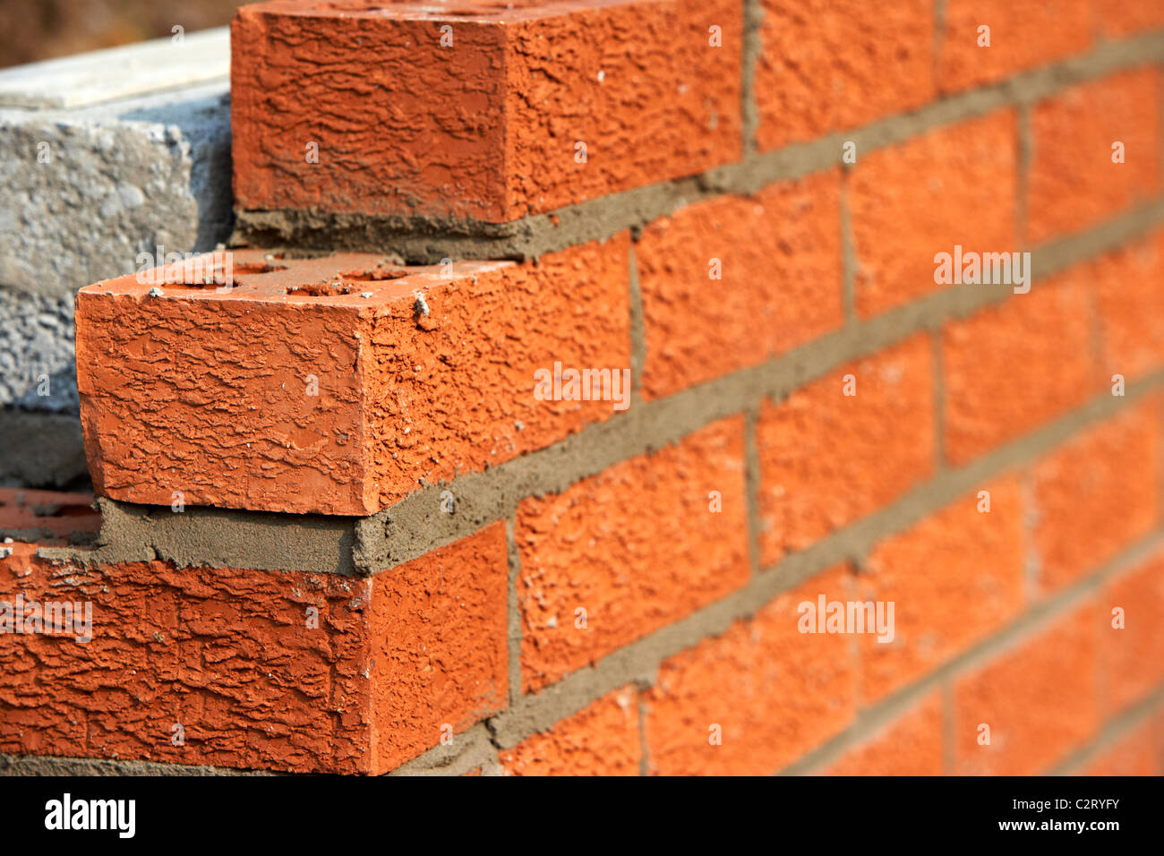Superior Bricklaying Wall Red House Bricks Facing Half Cement Breeze Blocks Building  A Block Retaining Wall In The Uk