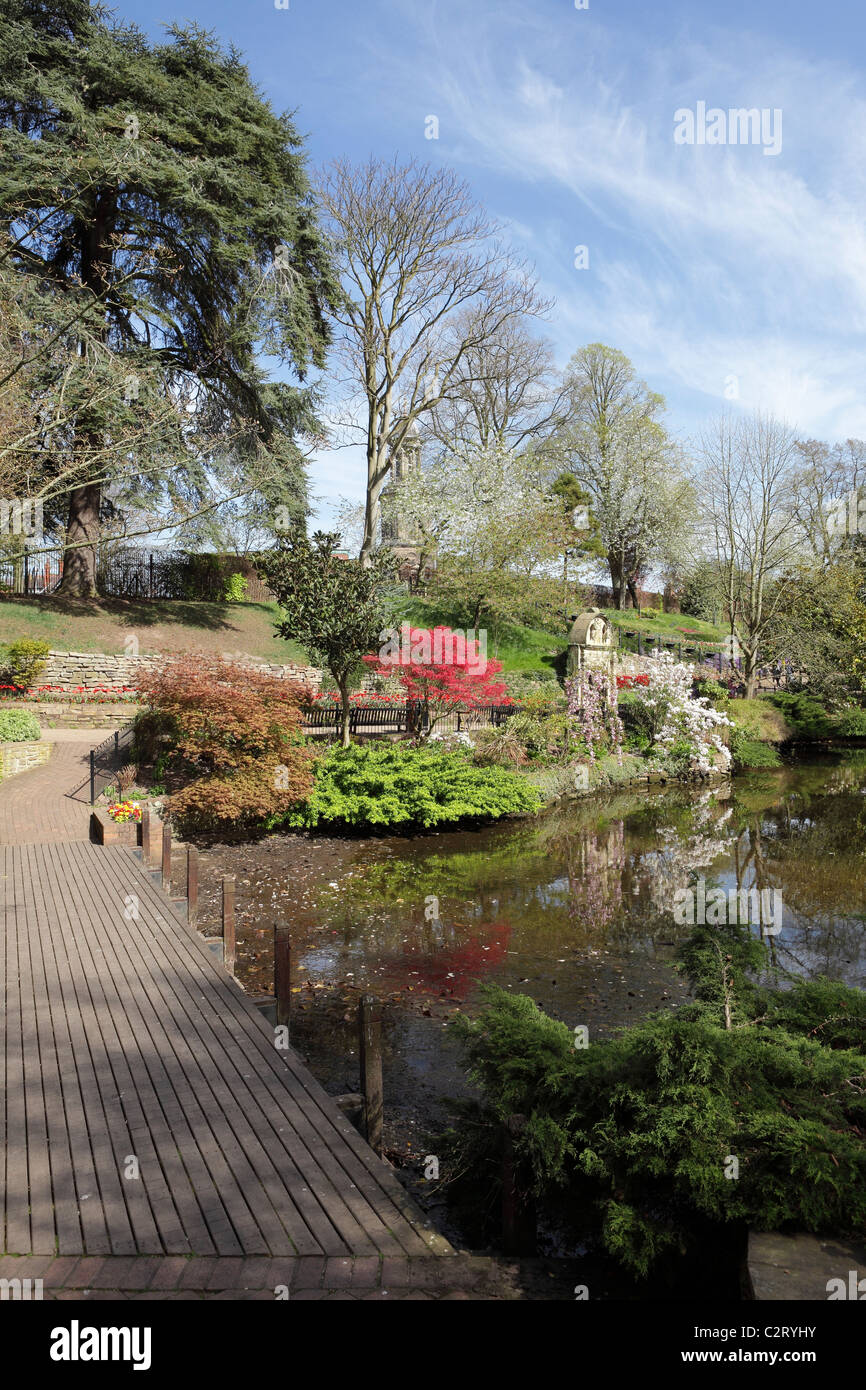 Viewed on a glorious spring afternoon within the confines of The Dingle in Shrewsbury,a horticultural oasis. - Stock Image
