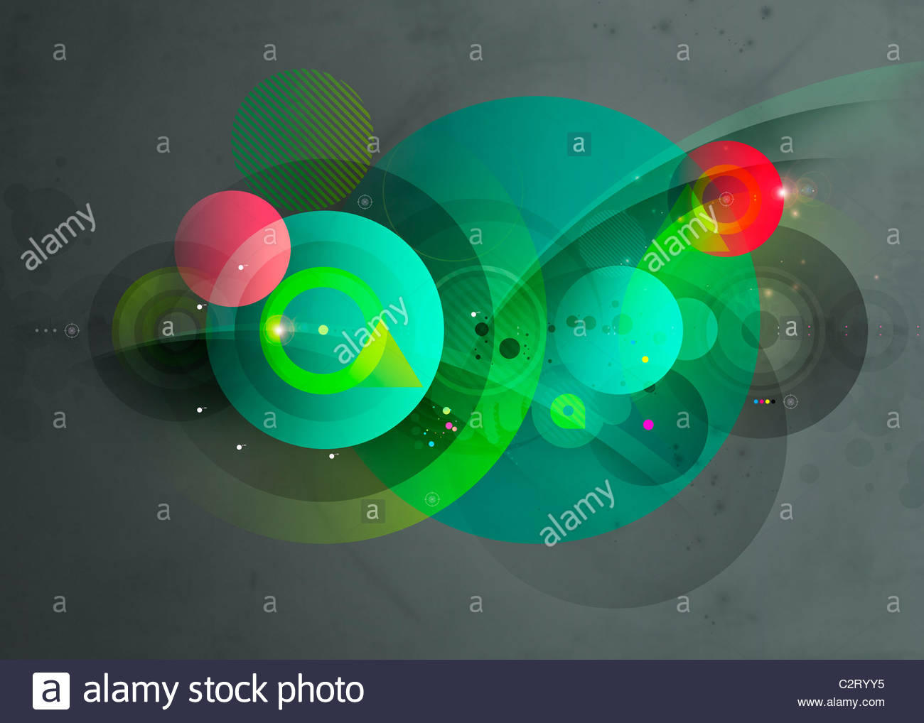 Abstract montage of green and red circles - Stock Image