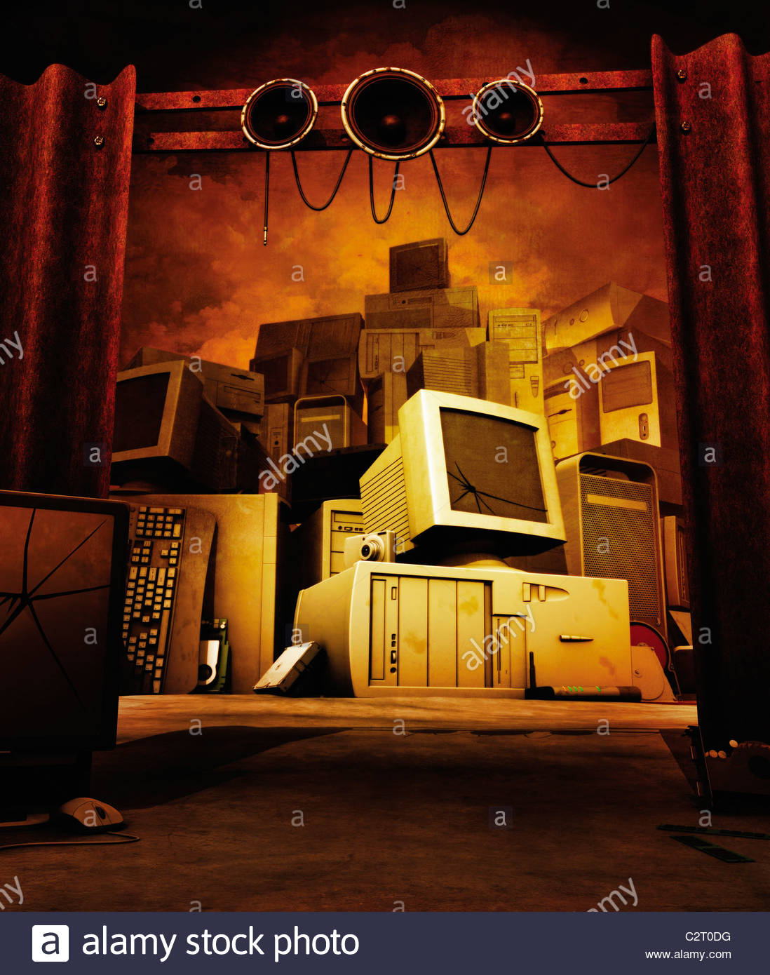 Obsolete computer equipment in pile - Stock Image
