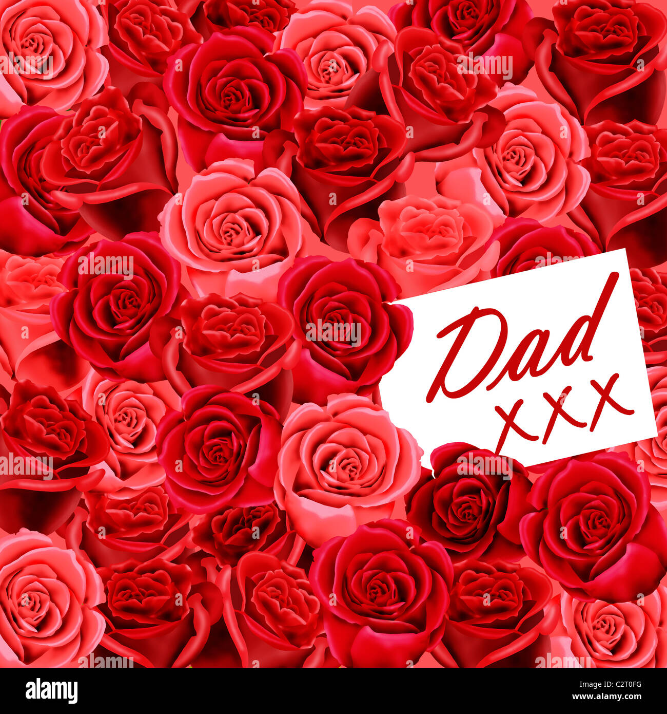 birthday or father's day card to dad with a card and kisses on a