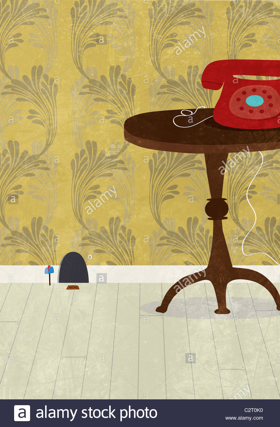 Mouse hole next to table and telephone - Stock Image