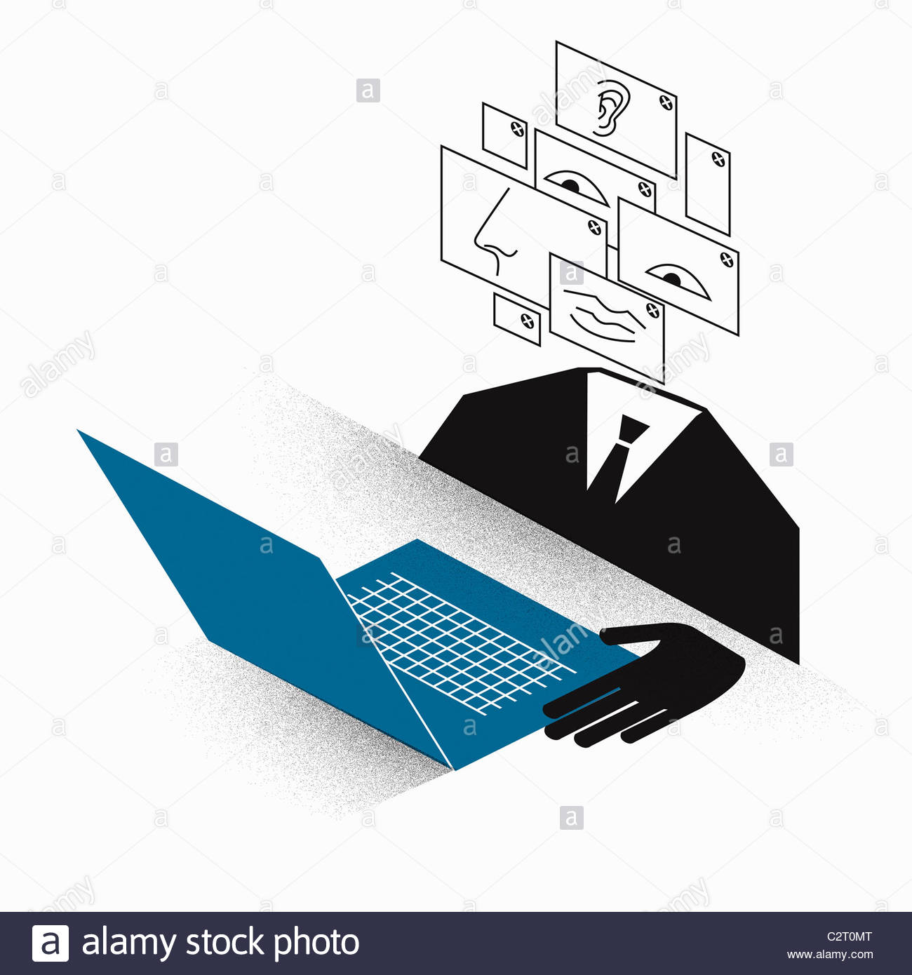 Businessman with montage face using laptop - Stock Image