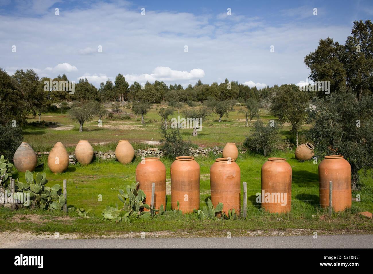 Large earthenware ceramic pots in Gafete, Portugal, the Alentejo - Stock Image