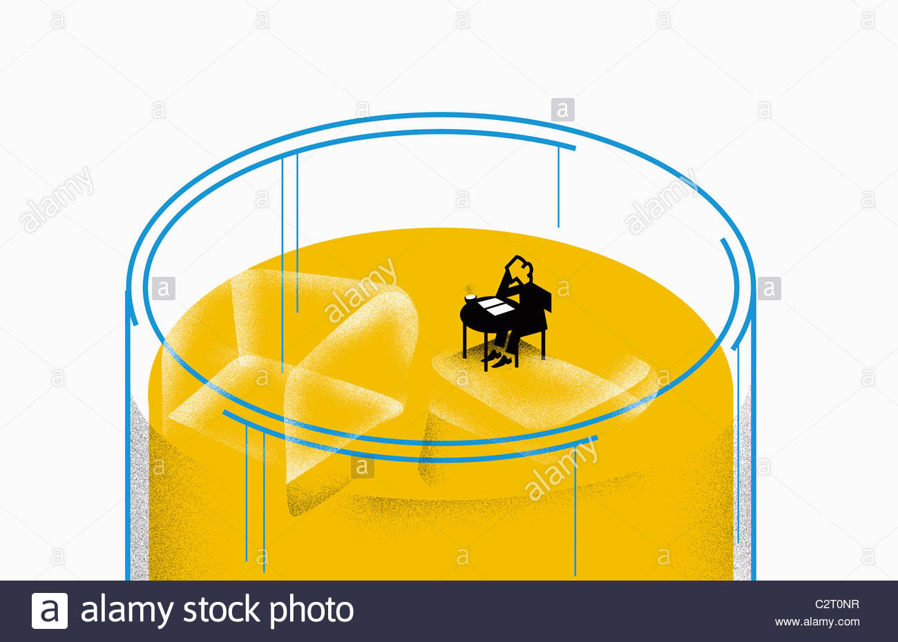 Person sitting at table floating on ice cube - Stock Image