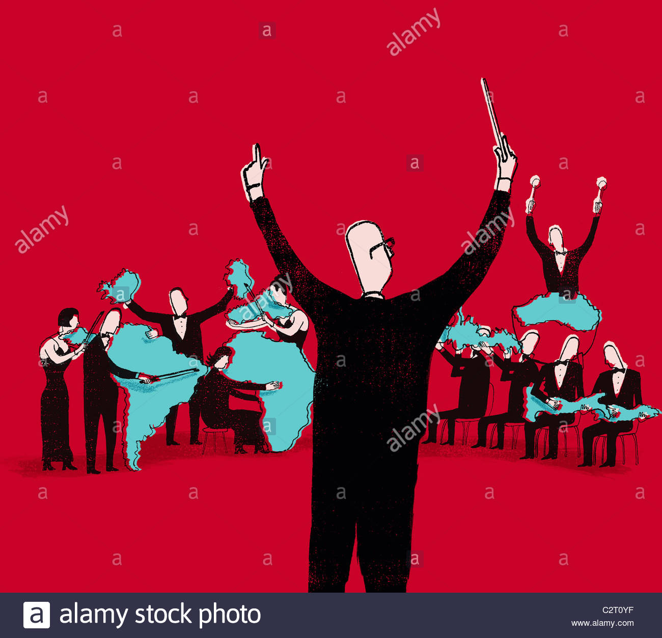 Conductor directing international orchestra - Stock Image