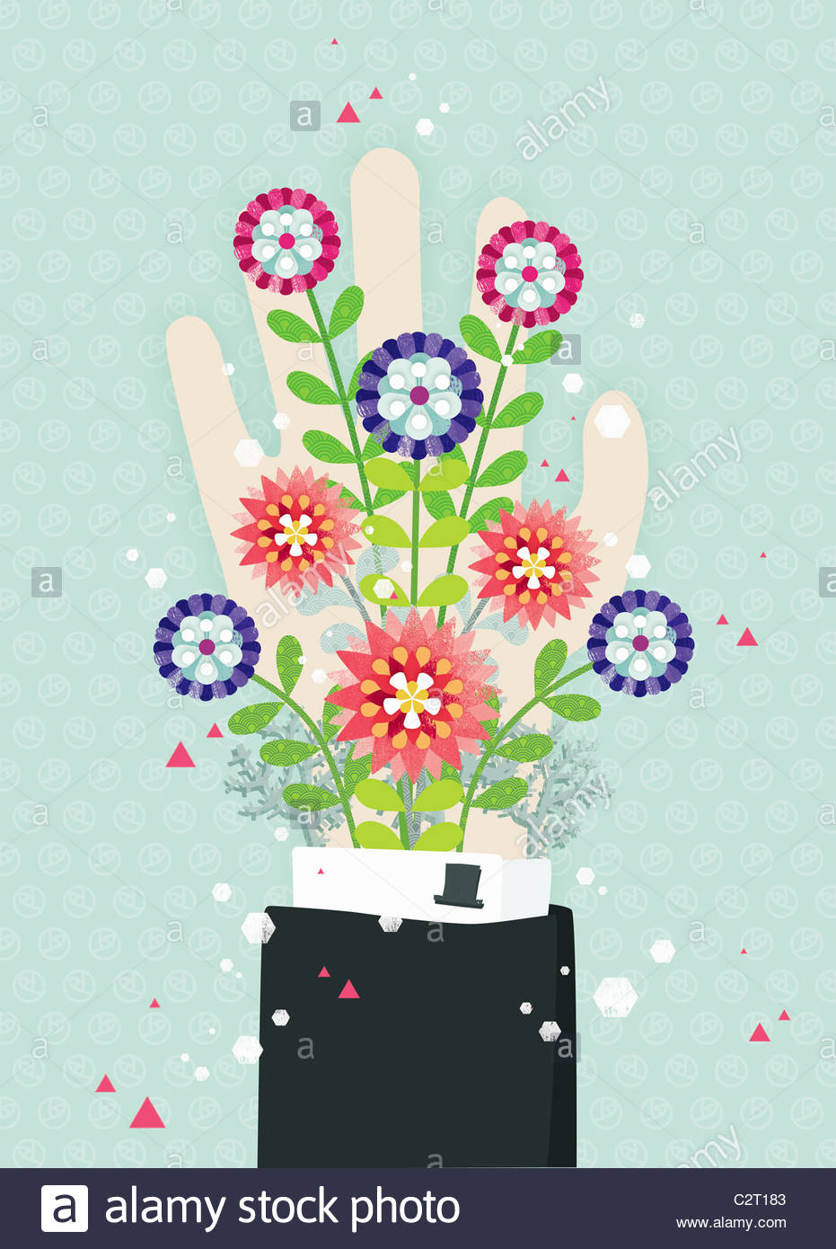 Blooming flowers coming from man's sleeve - Stock Image