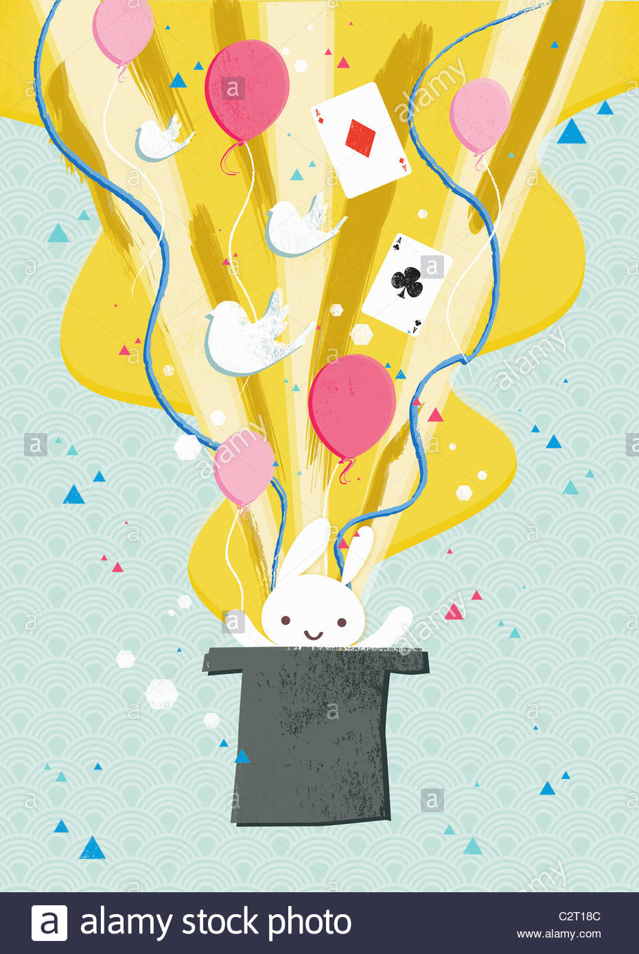 Rabbit, balloons and cards coming from top hat - Stock Image