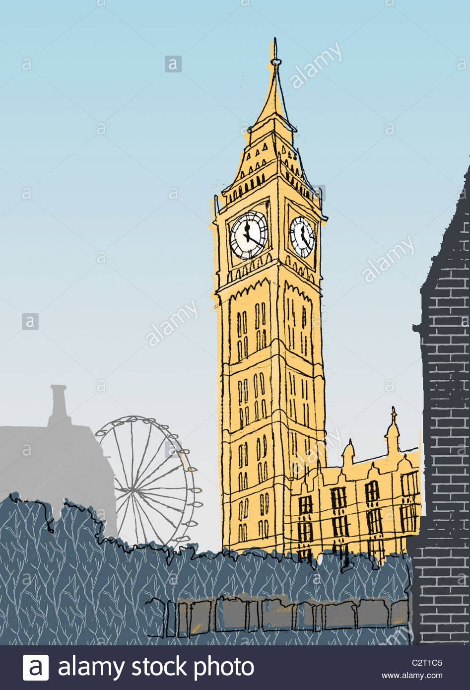 Big Ben, London Eye and Houses of Parliament - Stock Image