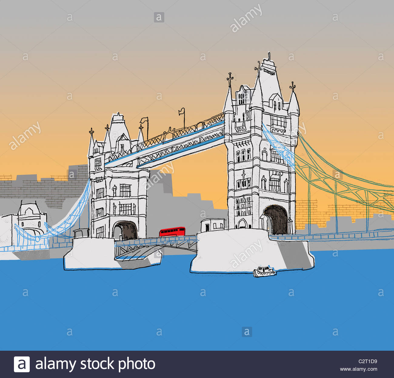 Bus driving over the Tower Bridge - Stock Image