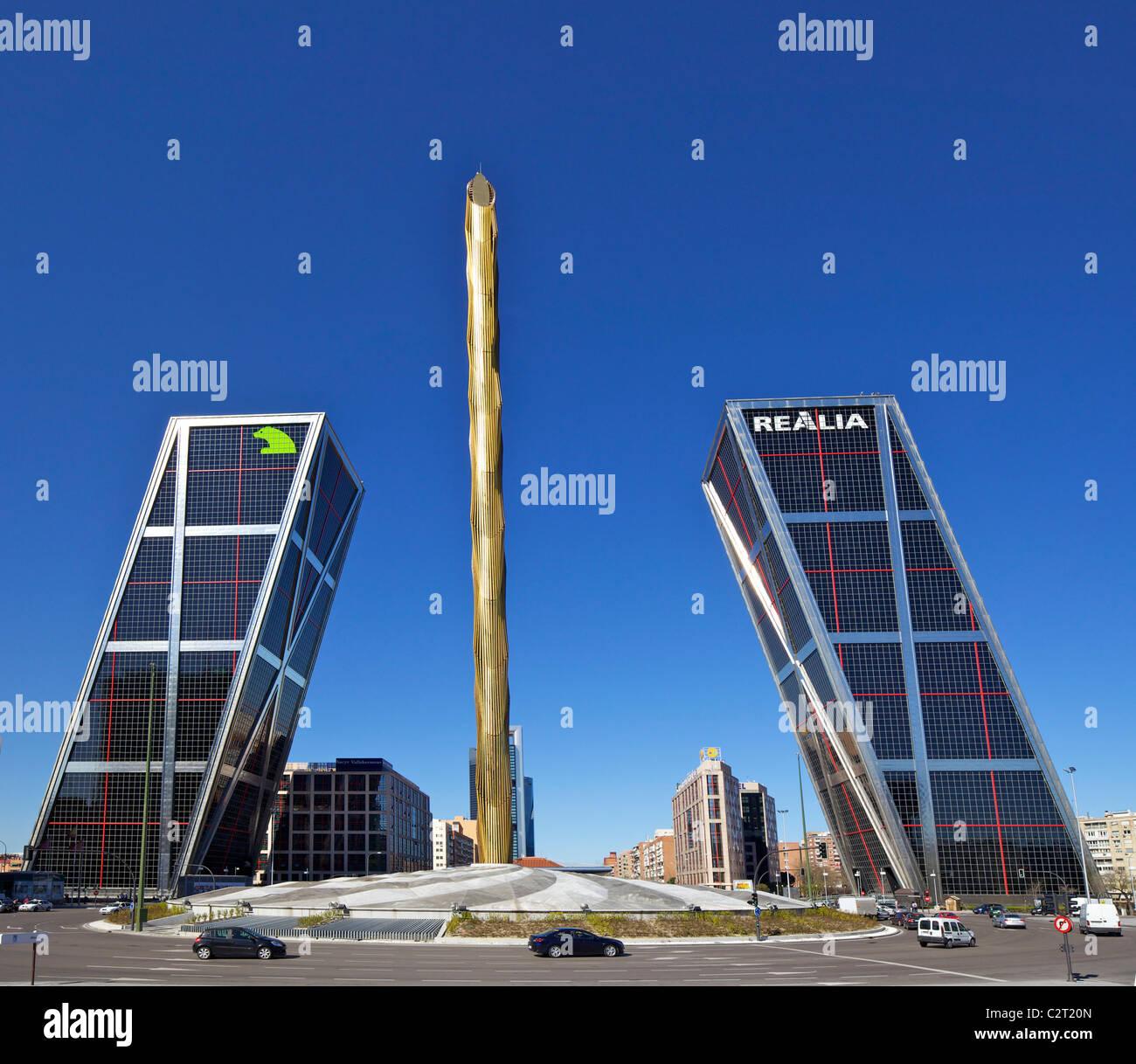 Kio towers at the end of the Paseo de la Castellana, Torres Kio, Puerta de Europa, Plaza de Castilla, Madrid, Spain, - Stock Image