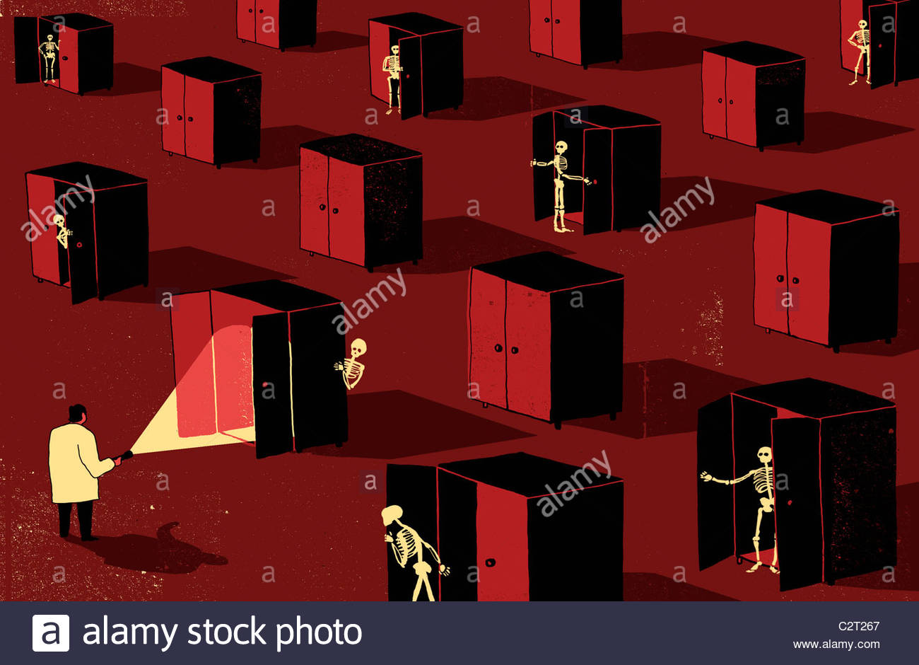 Man with flashlight looking for skeletons in closets - Stock Image