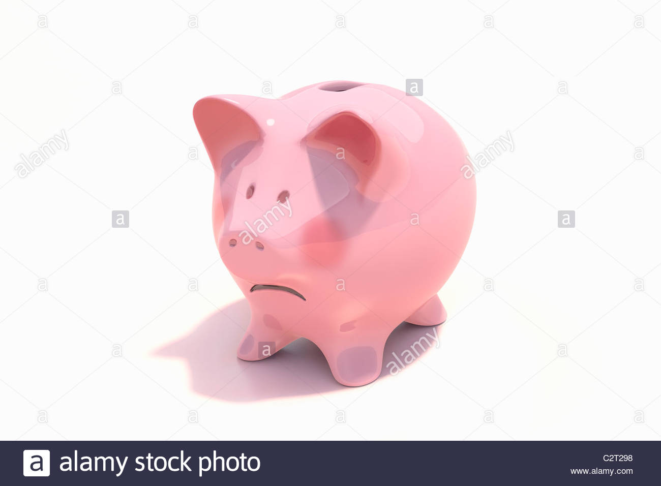 Sad piggy bank - Stock Image