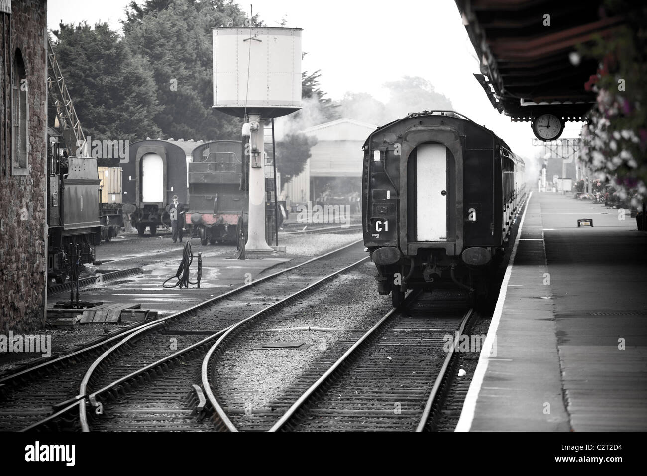 steam locomotives at the West Somerset Railway in Minehead - Stock Image