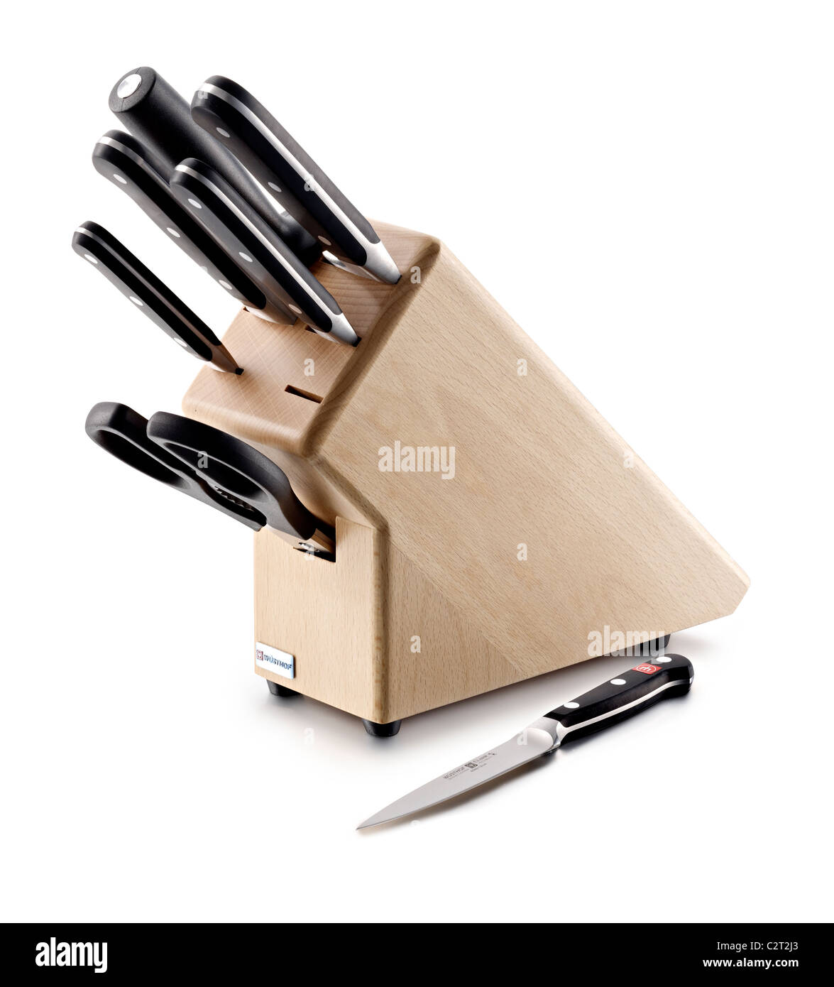 wooden knife block and knives - Stock Image