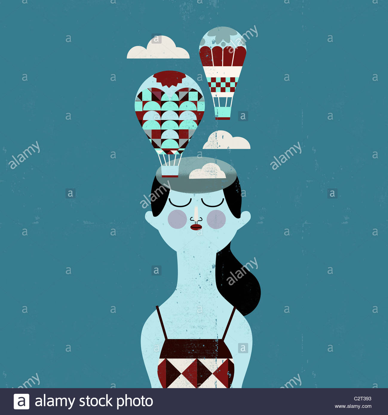 Woman with hot air balloons coming from her head - Stock Image