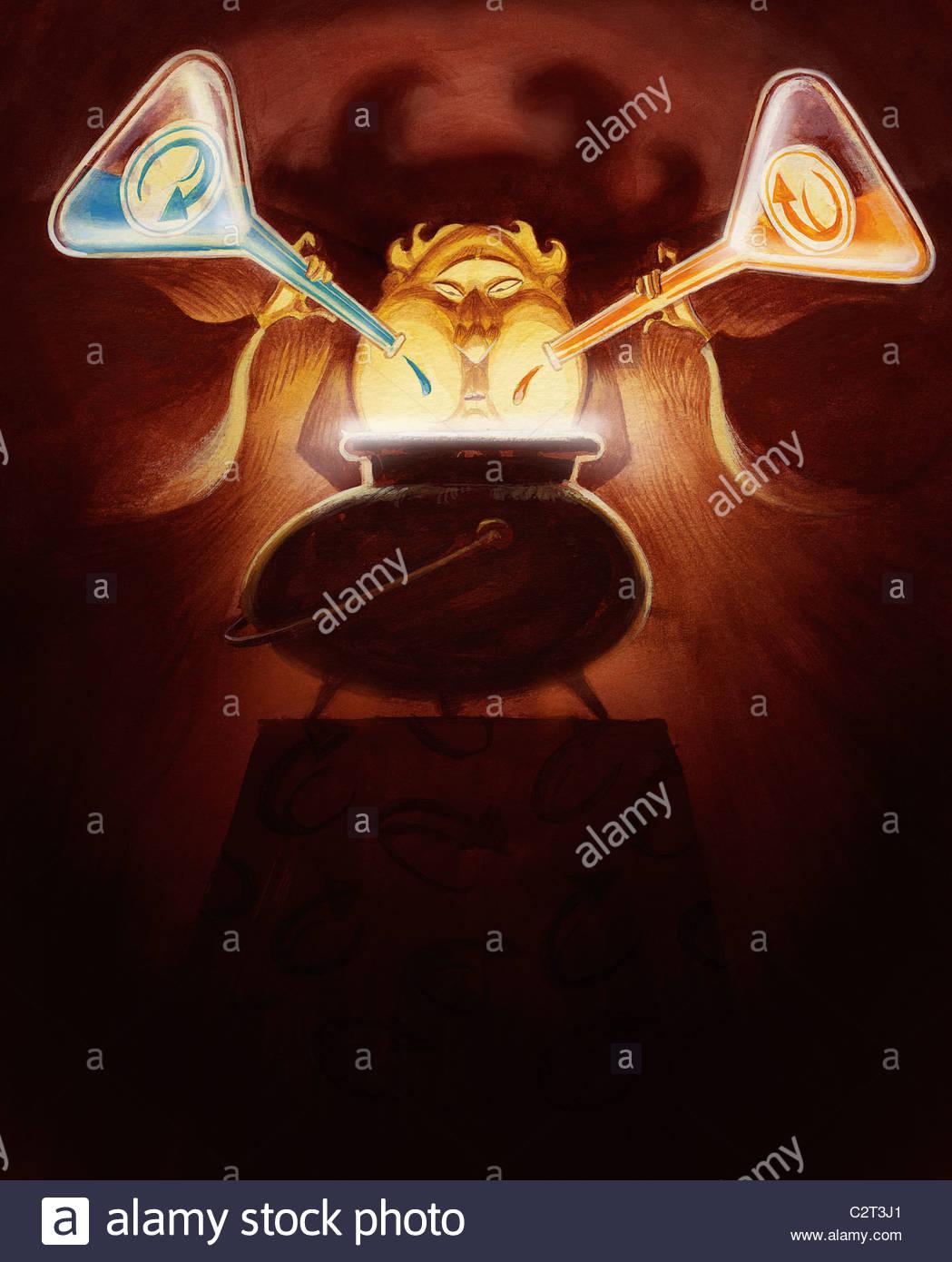 Man pouring liquid into cauldron - Stock Image