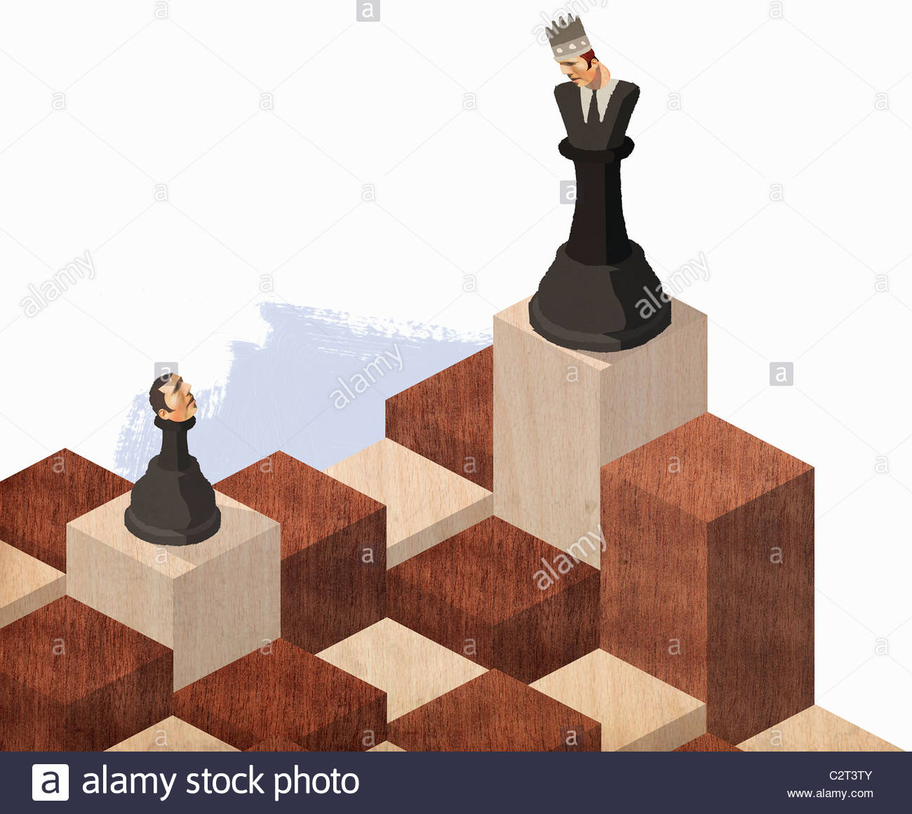 Chess pieces with businessman heads - Stock Image