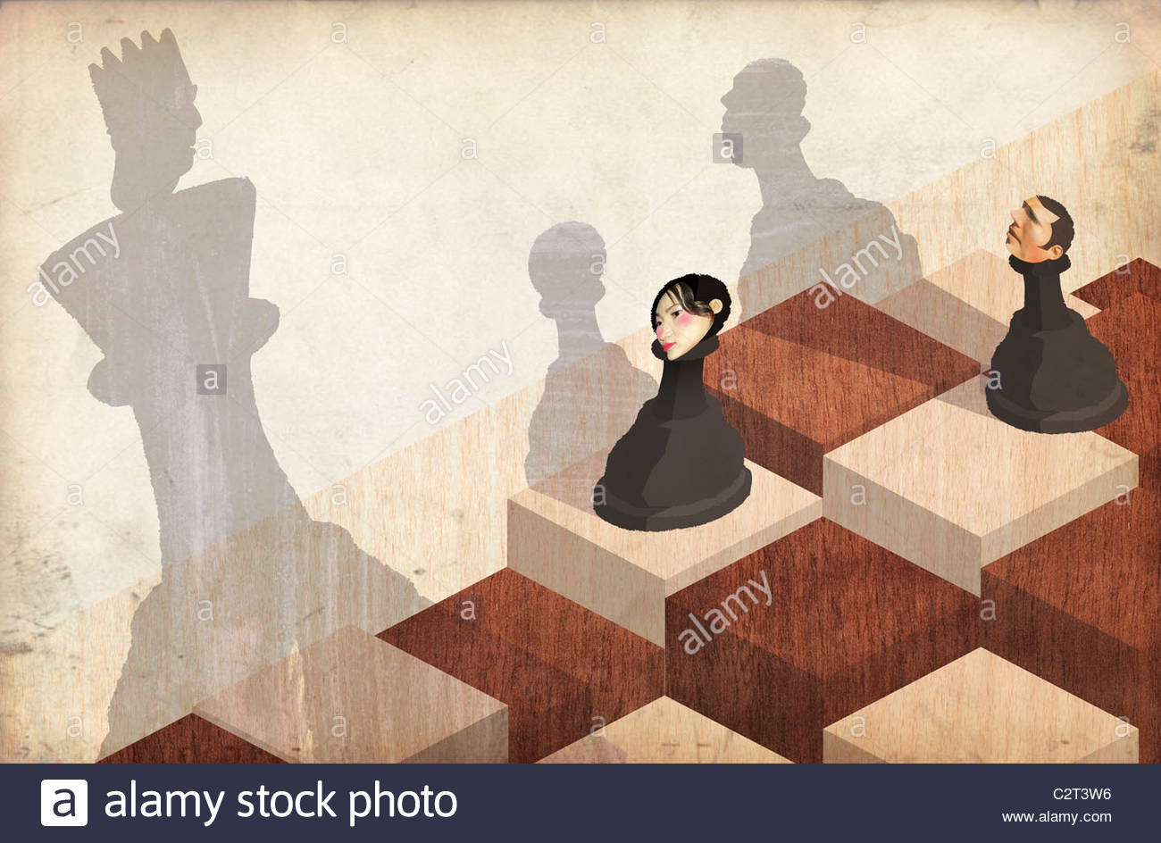 Chess pieces with man and woman's heads - Stock Image