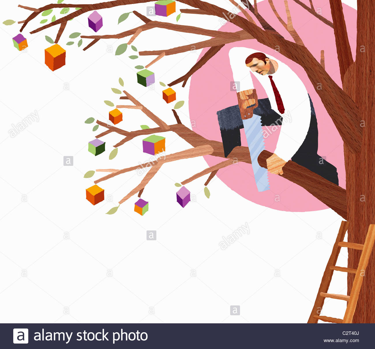Businessman sawing branch from tree - Stock Image