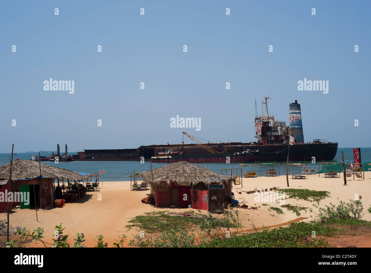 The River Pincess aground at Candolim. - Stock Image