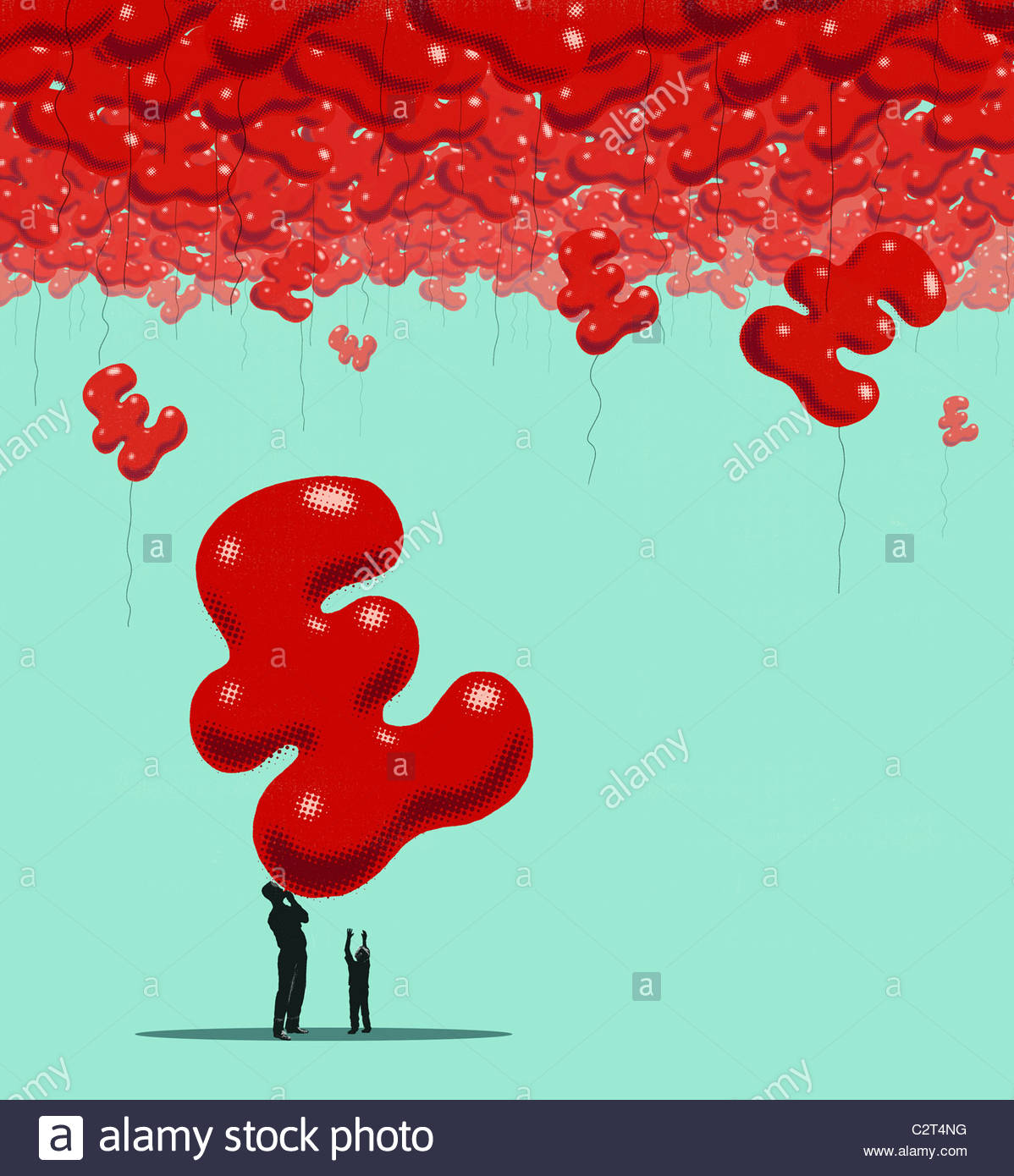 Father blowing up British pound balloons - Stock Image