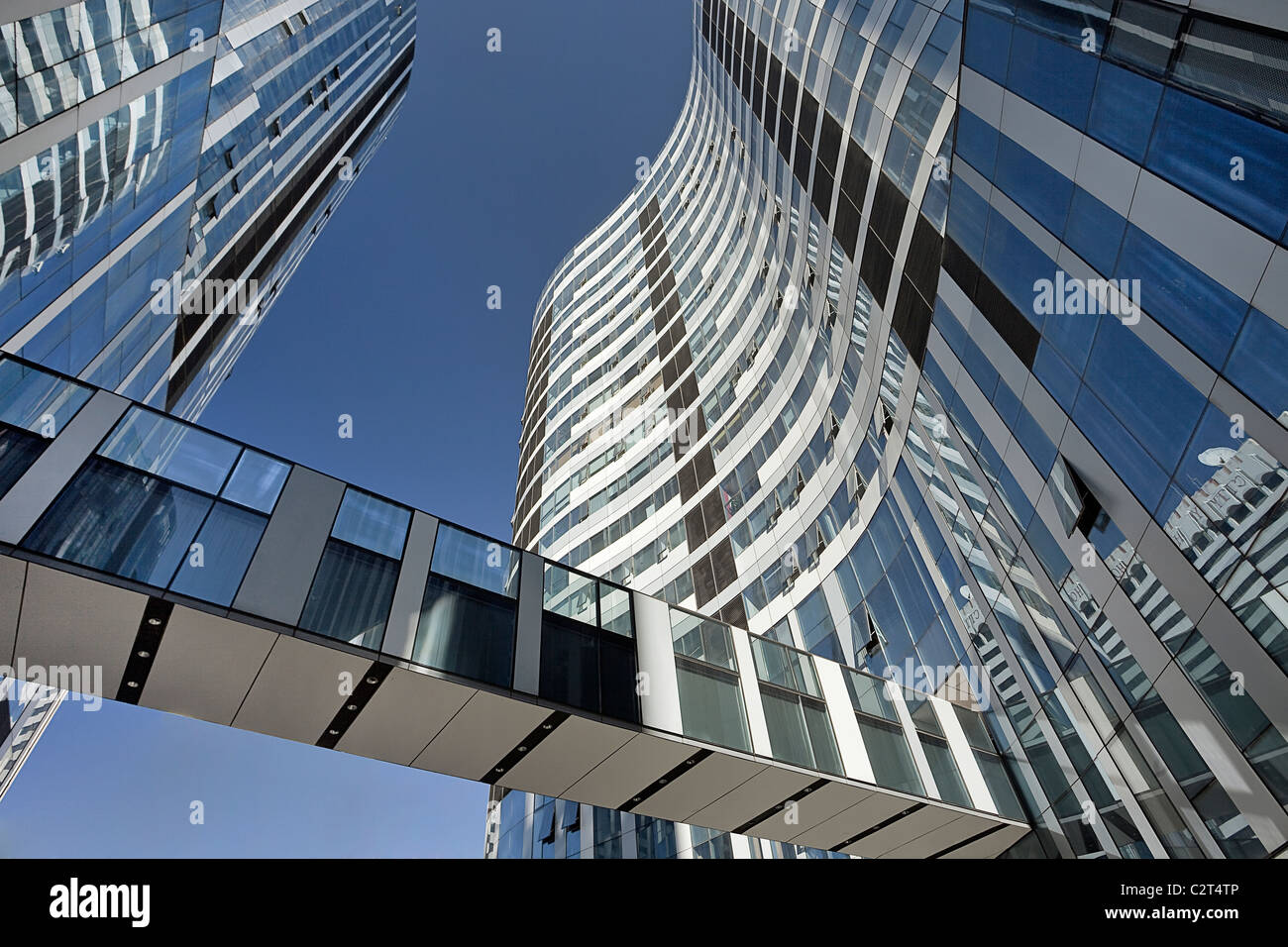 Modern architecture, skyscrapers with glass surface connected via a walkway, Beijing Central Business District, - Stock Image