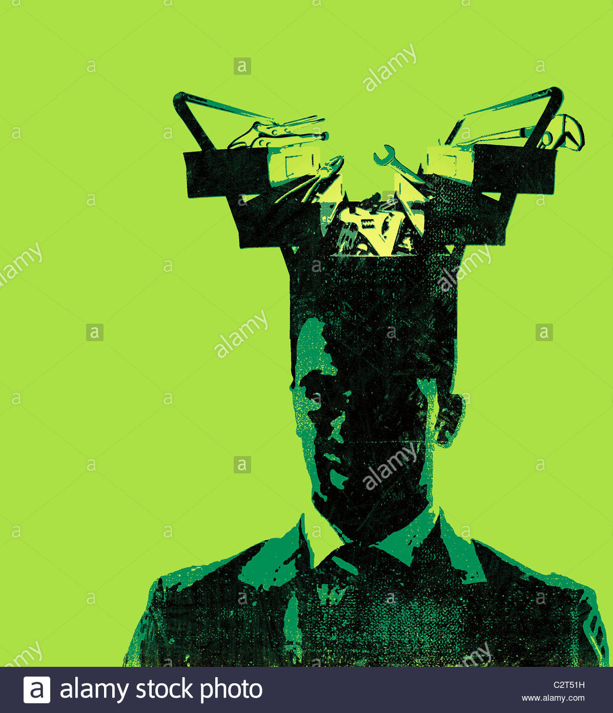 Businessman with toolbox coming from his head - Stock Image