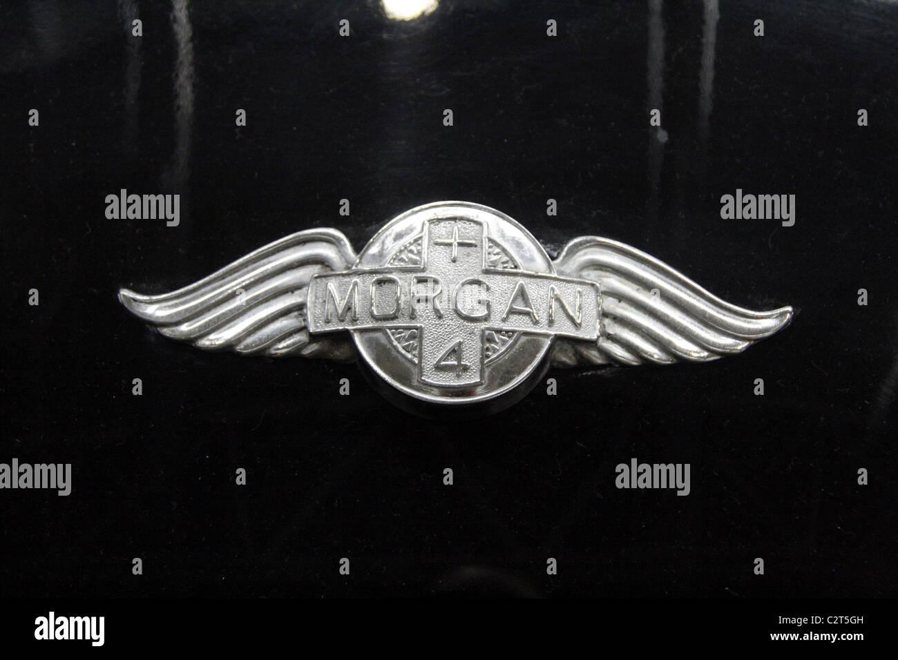 Vintage Black Morgan Sports Car Metal Badge Symbol At Motor Show
