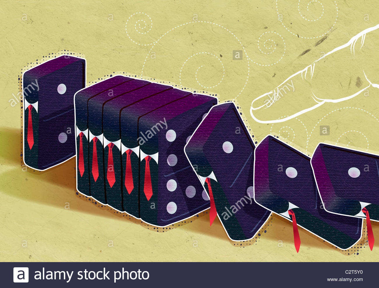 Finger pushing over businessman-shaped dominoes - Stock Image