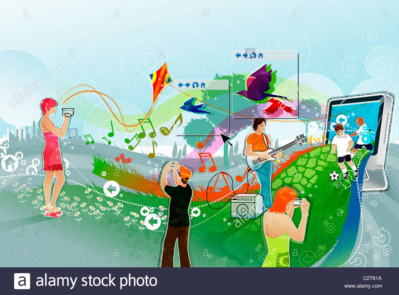 Montage of people using digital technology - Stock Image