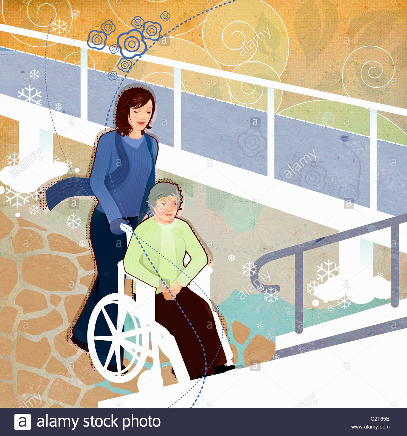 Woman pushing elderly woman in wheelchair - Stock Image