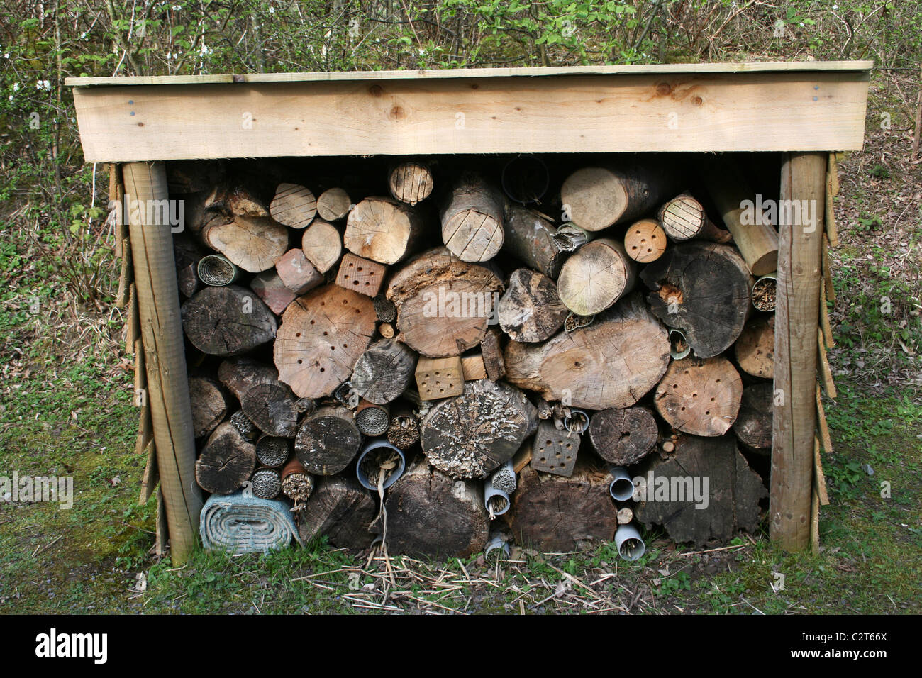 Insect Friendly Housing In A Log Pile At Conwy RSPB Reserve, Wales, UK - Stock Image