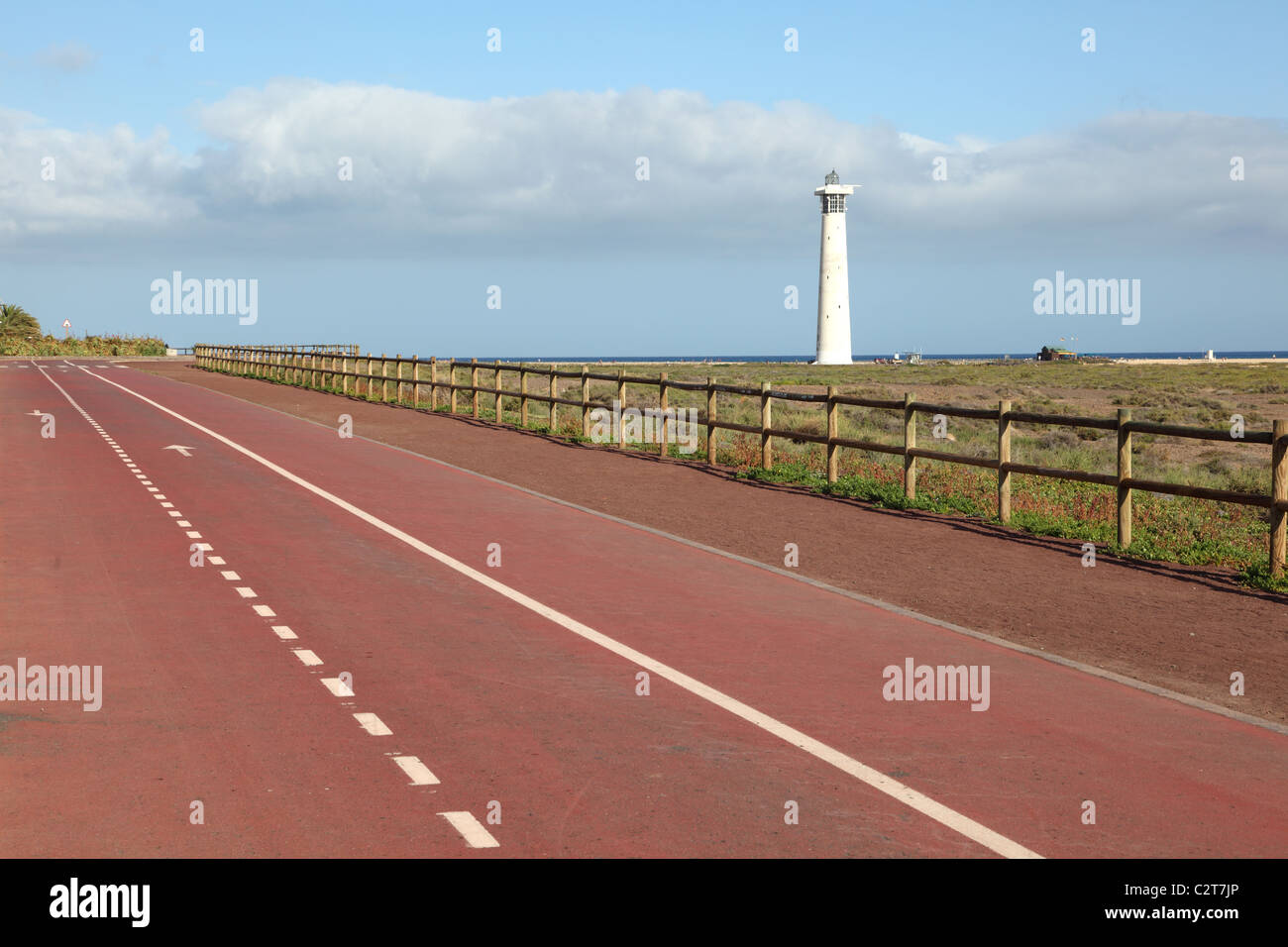 Bike lane and athletic track in Jandia Playa, Canary Island Fuerteventura, Spain - Stock Image