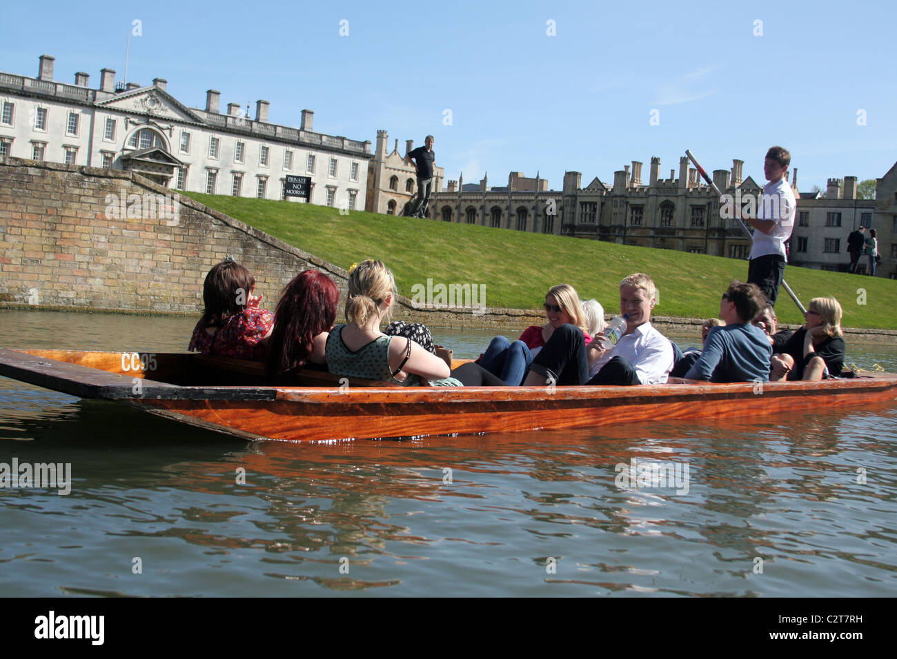 Tourist punters on the River Cam in Cambridge, Cambridgeshire, England, UK - Stock Image