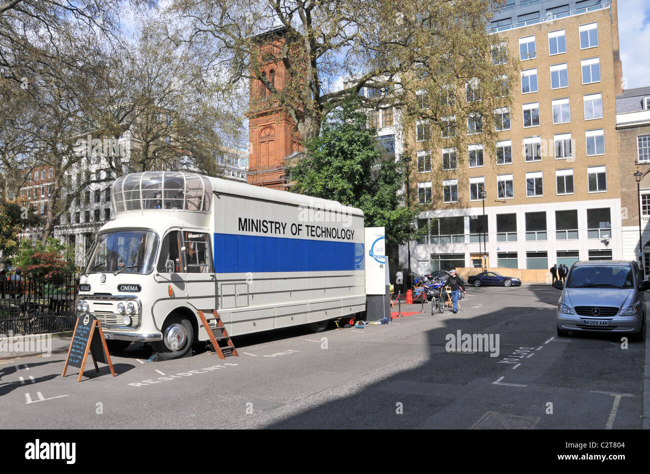 Mobile Cinema Soho square Ministry of Technology films movies 1950s Stock Photo