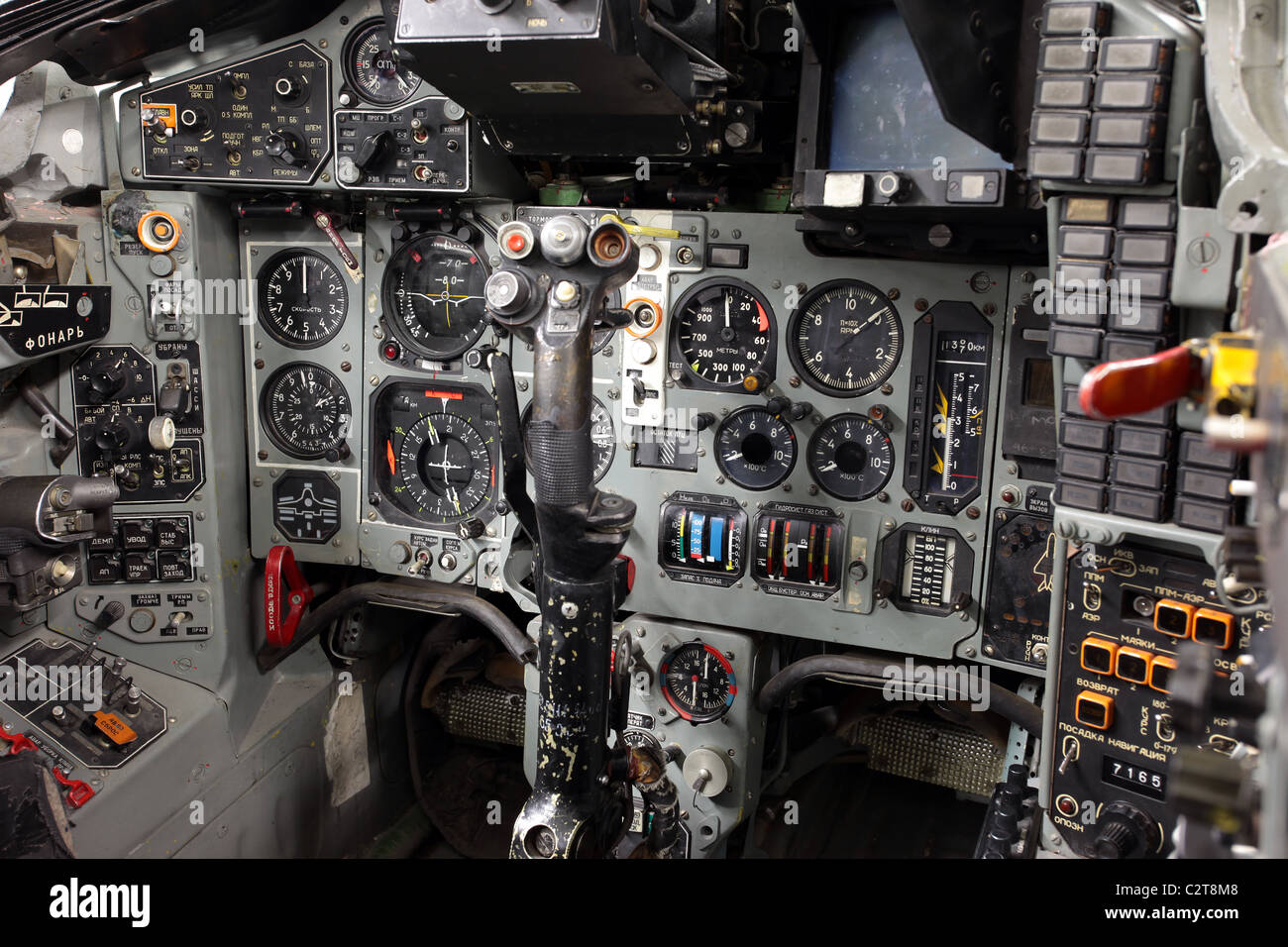 Cockpit and instrument panel of a captured Soviet Mig 29 Fulcrum