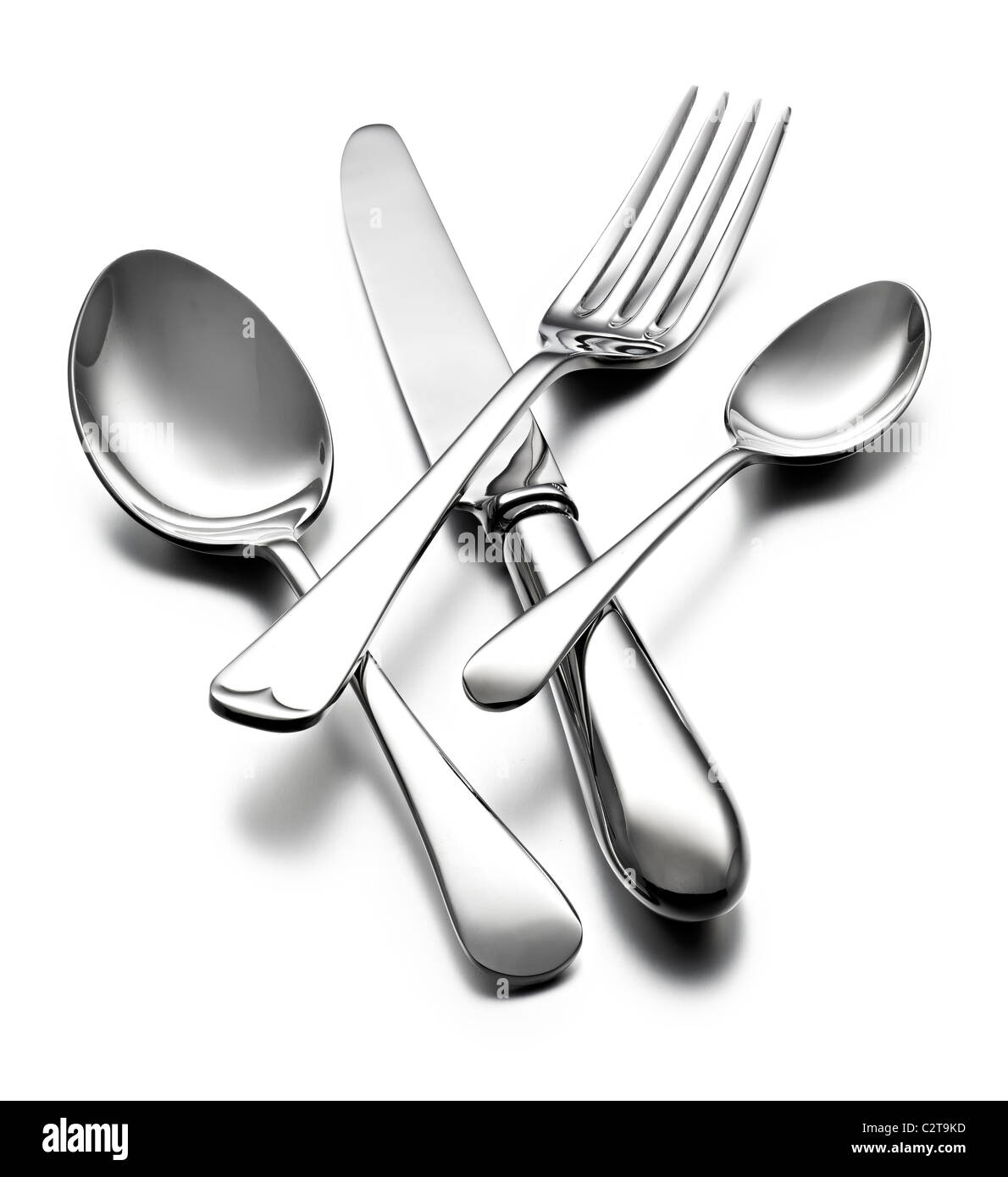 Shiny cutlery - Stock Image