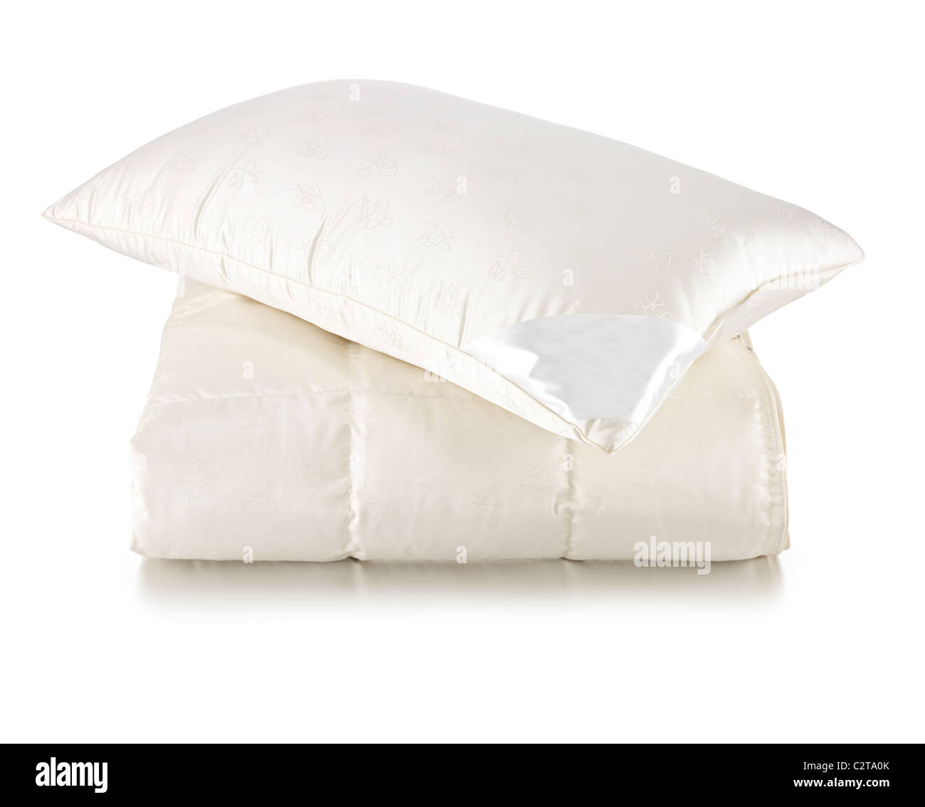 luxury pillow on luxury duvet - Stock Image