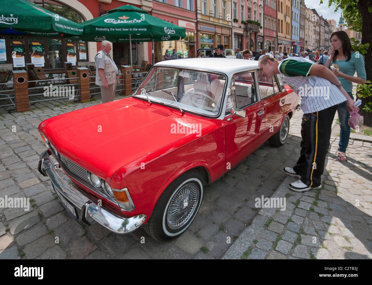 Restored vintage Polski Fiat 125p, painted in white and red, Polish national colors, in Świdnica, Lower Silesia, - Stock Image