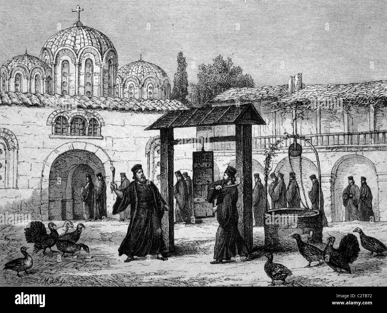 Sound board as a substitute for a bell at the Greek monastery of Stiris, Greece, historical illustration, circa - Stock Image