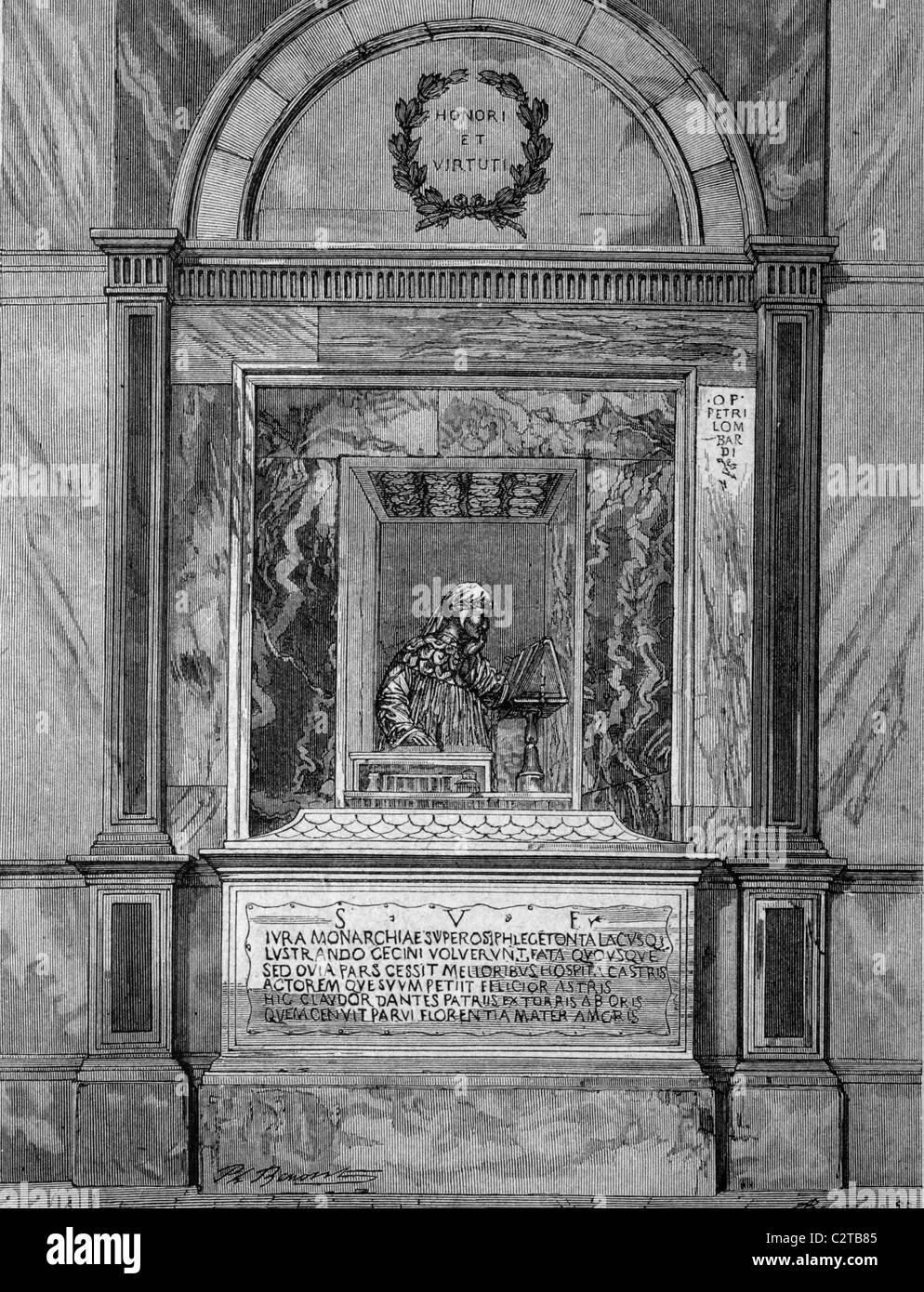 Tomb of Dante Allighieri in the grave chapel in Ravenna, Italy, historical illustration, circa 1886 - Stock Image