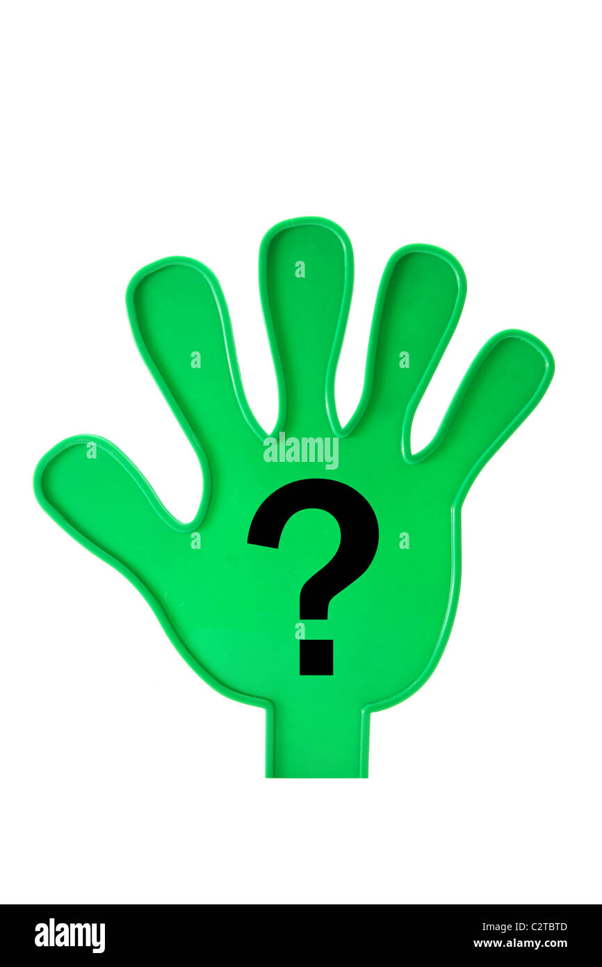 Toy Hand with Question Mark - Stock Image
