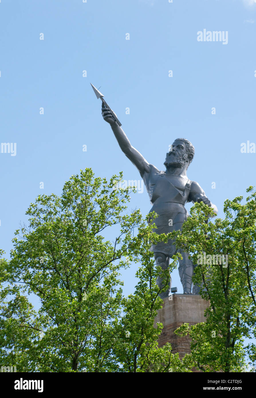 Birmingham, Alabama, USA-April 16: Vulcan the largest cast iron statue in the world overlooks the city of Birmingham, Stock Photo