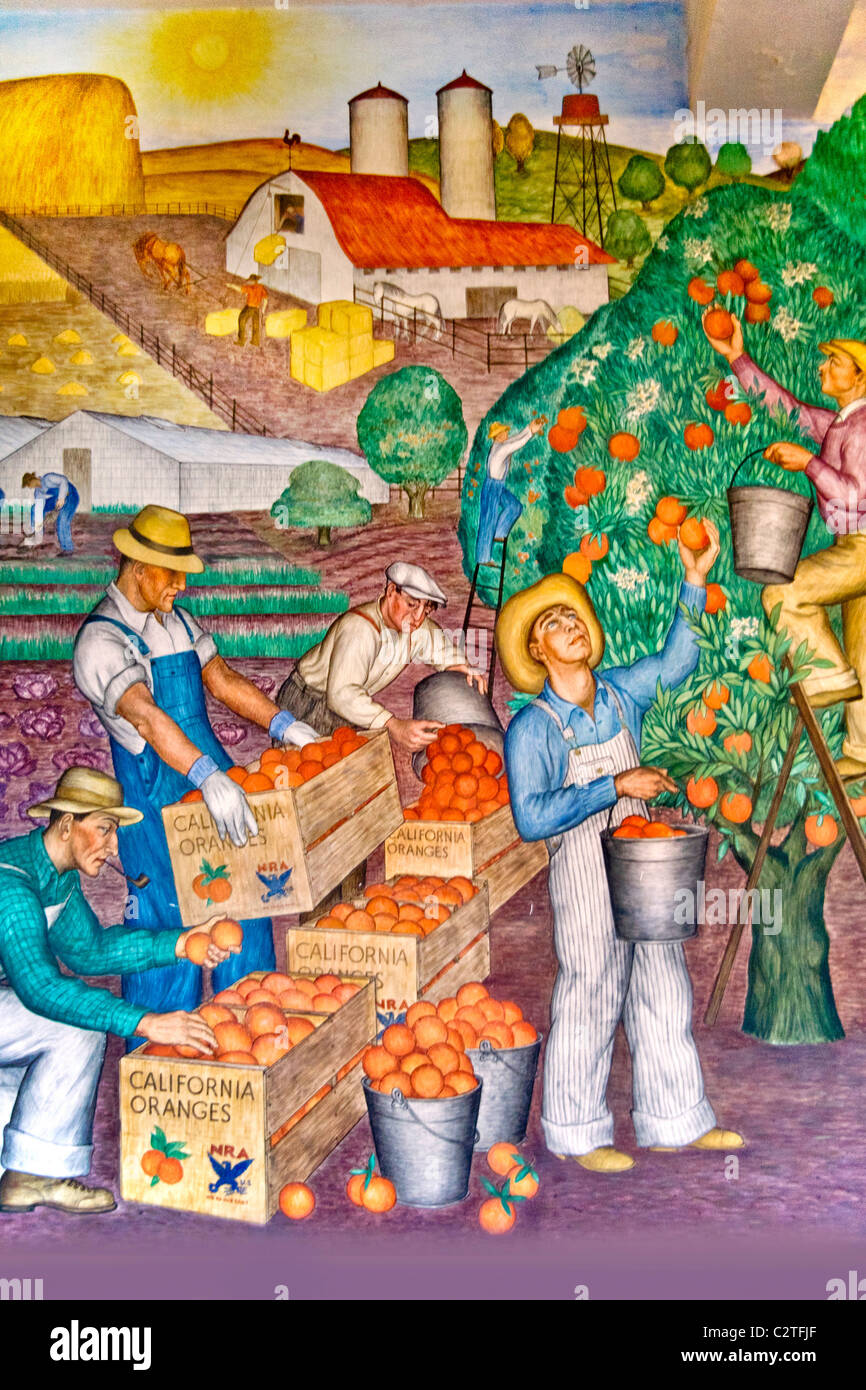 Created in 1934 by artist Maxine Albro, a fresco in the Social Realism artistic style entitled 'California Agriculture'. - Stock Image