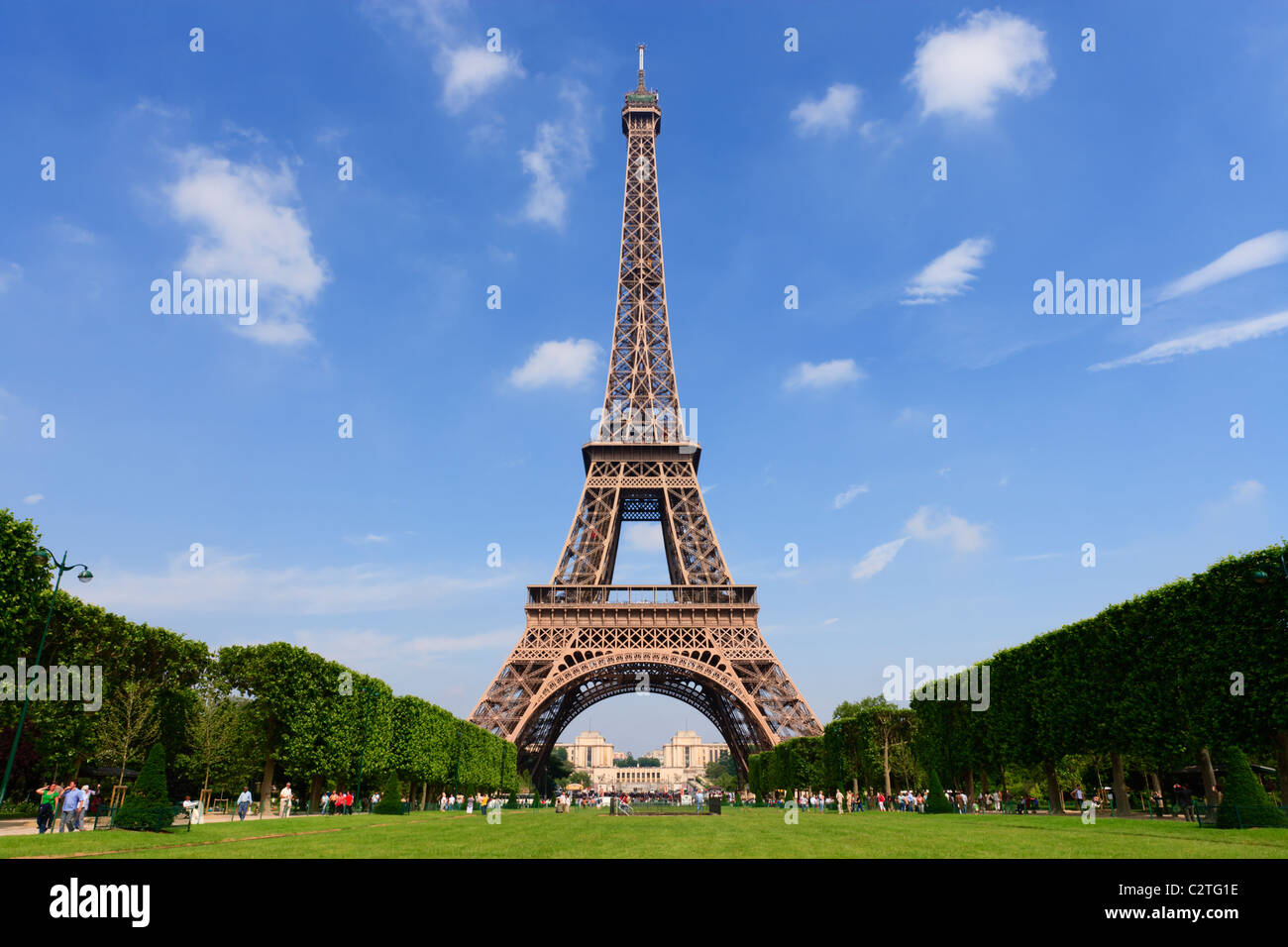 The Eiffel Tower from the Champ de Mars. - Stock Image